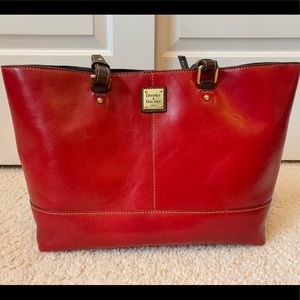 Brand new, red Dooney & Burke tote w/duster & tags